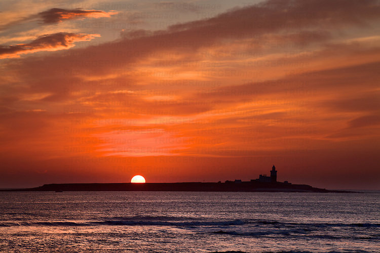 Sunrise over Coquet Island Amble by the Sea Northumberland England