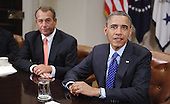 United States President Barack Obama meets with a bipartisan group of congressional leaders including Speaker of the U.S. House John Boehner (Republican of Ohio) in the Roosevelt Room of the White House on November 16, 2012 in Washington, DC. .Credit: Olivier Douliery / Pool via CNP