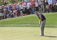 29 SEP 12  Brandt Snedeker putts for birdie on 16 during Saturdays foresome matches  at The 39th Ryder Cup at The Medinah Country Club in Medinah, Illinois.