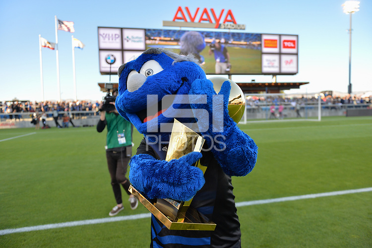 San Jose, CA - Monday July 10, 2017: San Jose Earthquakes mascot with NBA trophy prior to a U.S. Open Cup quarterfinal match between the San Jose Earthquakes and the Los Angeles Galaxy at Avaya Stadium.