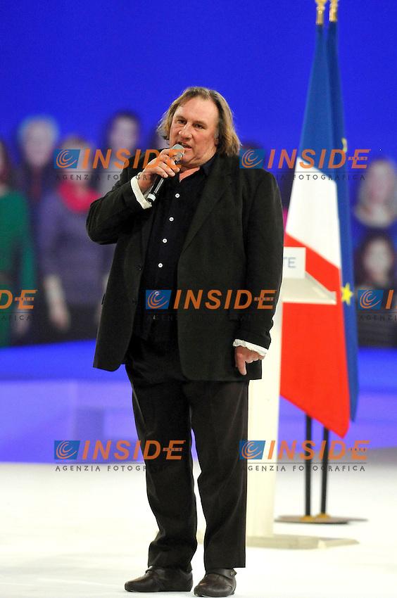 Gerard Depardieu.VILLEPINTE (ILE DE FRANCE) 11/3/2012.Campagna Elettorale Presidenziali 2012.UMP.Foto Insidefoto / Gerard Roussel / Panoramic
