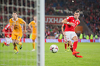 Gareth Bale of Wales scores his side's fourth goal from the penalty spot during the FIFA World Cup Qualifier match between Wales and Moldova at Cardiff City Stadium, Cardiff, Wales on 5 September 2016. Photo by Mark  Hawkins.