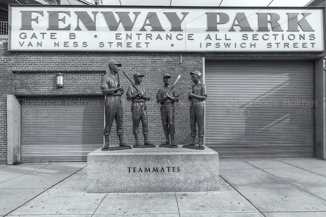 """Teammates"" statue outside Gate B at Fenway Park on Van Ness Street in Boston, Massachusetts"