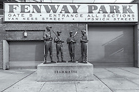 """Teammates"" statue outside Gate B at Fenway Park on Van Ness Street in Boston, Massachusetts"