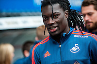 Bafetimbi Gomis of Swansea City arrives at the Liberty Stadium the Barclays Premier League match between Swansea City and Southampton  played at the Liberty Stadium, Swansea  on February 13th 2016