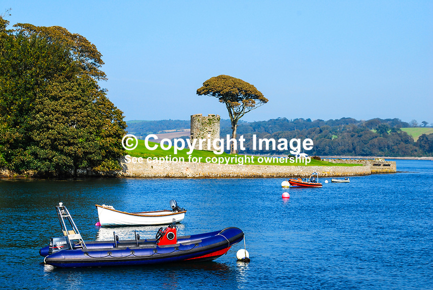Shore line, round tower, Strangford Lough, close to Strangford, village, Co Down, N Ireland, UK, 200809271498..Copyright Image from Victor Patterson, 54 Dorchester Park, Belfast, UK, BT9 6RJ..Tel: +44 28 9066 1296.Mob: +44 7802 353836.Voicemail +44 20 8816 7153.Skype: victorpattersonbelfast.Email: victorpatterson@mac.com.Email: victorpatterson@ireland.com (back-up)..IMPORTANT: If you wish to use this image or any other of my images please go to www.victorpatterson.com and click on the Terms & Conditions. Then contact me by email or phone with the reference number(s) of the image(s) concerned.