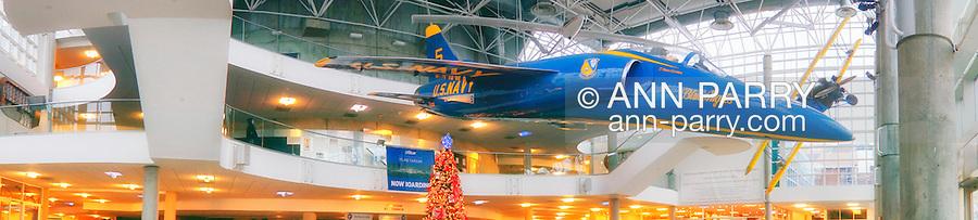 Panorama of Long Island Garden Railway Society display at Cradle of Aviation Museum, 2012-12-26