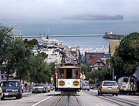 Cable Car travelling from Hyde street pier in San Francisco, California, usa
