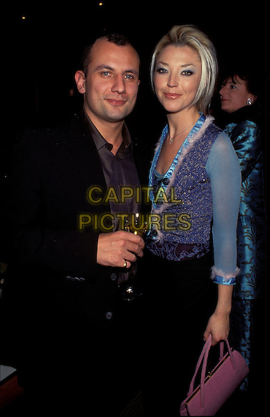 TAMARA BECKWITH.Ref:8028PL.blue vest top half length.sales@capitalpictures.com.www.capitalpictures.com.©Capital Pictures.