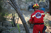Pictured: A Red Cross worker fell a tree after to make space for a further search by a disused building in a field in Kos, Greece. Saturday 01 October 2016<br /> Re: Police teams led by South Yorkshire Police, searching for missing toddler Ben Needham on the Greek island of Kos have moved to a new area in the field they are searching.<br /> Ben, from Sheffield, was 21 months old when he disappeared on 24 July 1991 during a family holiday.<br /> Digging has begun at a new site after a fresh line of inquiry suggested he could have been crushed by a digger.