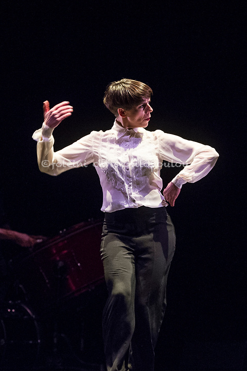 London, UK. 18.02.2018. Dramatist Pedro G. Romero and flamenco dancers Ursula López, Tamara López and Leonor Leal present Painter and Flamenco: J.R.T. as part of the Flamenco Festival London 2018 at Sadler's Wells Theatre, 18 Feb. Photo shows: Leonor Leal. Photo - © Foteini Christofilopoulou.