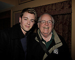 General Hospital's Chad Duell poses with actor in Rocky - Dakin Matthews backstage as he came into New York City to see Broadway's Rocky on April 25, 2014 starring Andy Karl and David Andrew MacDonald (Guiding Light and Another World) and then went backstage to meet the actors. Photos were taken backstage and on stage. Also Chad posed with actor Dakin Matthews who just recently play a judge on General Hospital. (Photo by Sue Coflin/Max Photos)