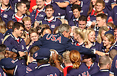 United States President George W. Bush is surrounded by members of the 2004 United States Olympic and Paralympic teams after making remarks on the South Lawn of the White House in Washington, D.C. on October 18, 2004.  <br /> Credit: Ron Sachs / CNP