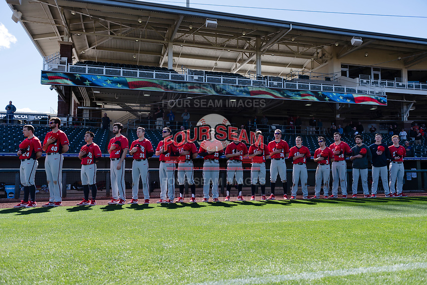 The Gonzaga Bulldogs during the National Anthem before a game against the Oregon State Beavers on February 16, 2019 at Surprise Stadium in Surprise, Arizona. Oregon State defeated Gonzaga 9-3. (Zachary Lucy/Four Seam Images)