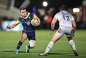 29th September 2017, Sixways Stadium, Worcester, England; Aviva Premiership Rugby, Worcester Warriors versus Saracens; Jamie Shillcock of Worcester Warriors tries to sidestep Brad Barritt of Saracens