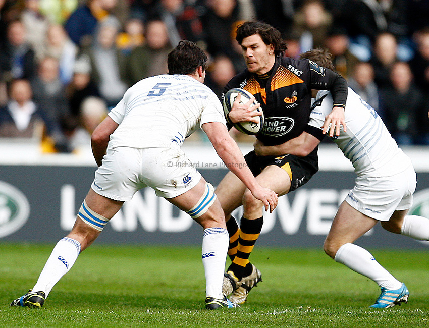 Photo: Richard Lane/Richard Lane Photography. Wasps v Leinster Rugby.  European Rugby Champions Cup. 24/01/2015. Wasps' Ben Jacobs attacks.