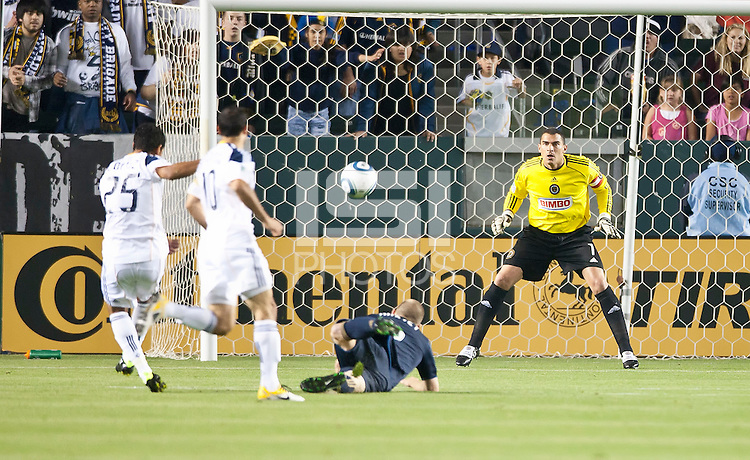 CARSON, CA – April 2, 2011: Philadelphia Union goalie Faryd Monodragon (1) reacts to a shot on goal by LA Galaxy forward Miguel Lopez (25) during the match between LA Galaxy and Philadelphia Union at the Home Depot Center, March 26, 2011 in Carson, California. Final score LA Galaxy 1, Philadelphia Union 0.