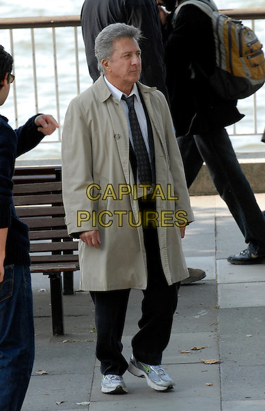 "DUSTIN HOFFMAN .On the set of ""Last Chance Harvey"" refilming scenes near The Royal Festival Hall, Embankment, London, England..May 21st, 2008.film movie full length beige trench coat mac .CAP/IA.©Ian Allis/Capital Pictures."