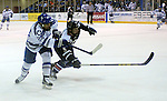 February 20, 2016 - Colorado Springs, Colorado, U.S. -   Air Force forward, A.J. Reid #24, and Robert Morris defender, Evan Moore #5, race for the puck during an NCAA ice hockey game between the Robert Morris University Colonials and the Air Force Academy Falcons at Cadet Ice Arena, United States Air Force Academy, Colorado Springs, Colorado.  Air Force defeats Robert Morris 4-1