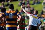 Sione Tangi gets given the yellow card by referee Simon Brown. Counties Manukau Premier Club Rugby final between Patumahoe & Waiuku played at Bayers Growers Stadium Pukekohe on Saturday August 8th 2009. Patumahoe won 11 - 9 after leading 11 - 6 at halftime.