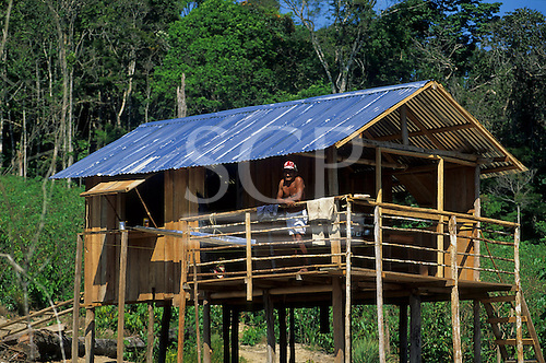 Rio Negro, Amazon, Brazil. Caboclo man outside his new, partly built wooden shack hut. Amazonas State.