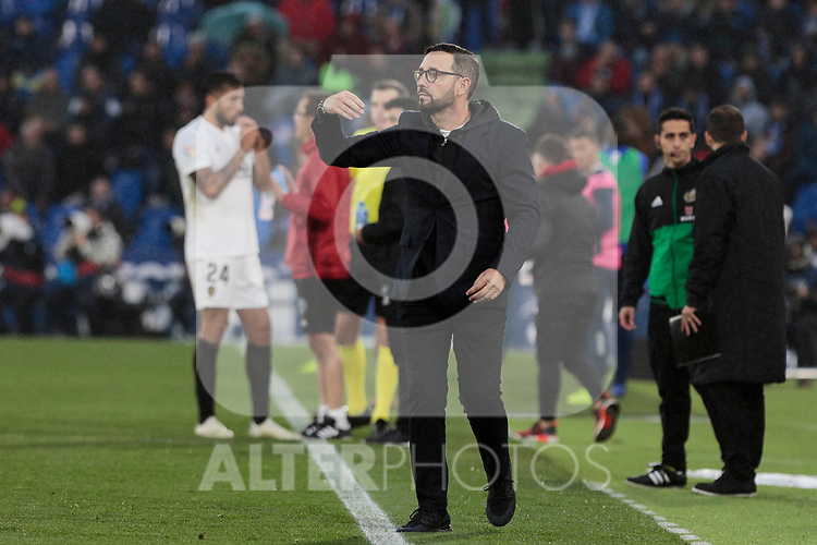 Getafe CF's coach Jose Bordalas during La Liga match between Getafe CF and Valencia CF at Coliseum Alfonso Perez in Getafe, Spain. November 10, 2018.