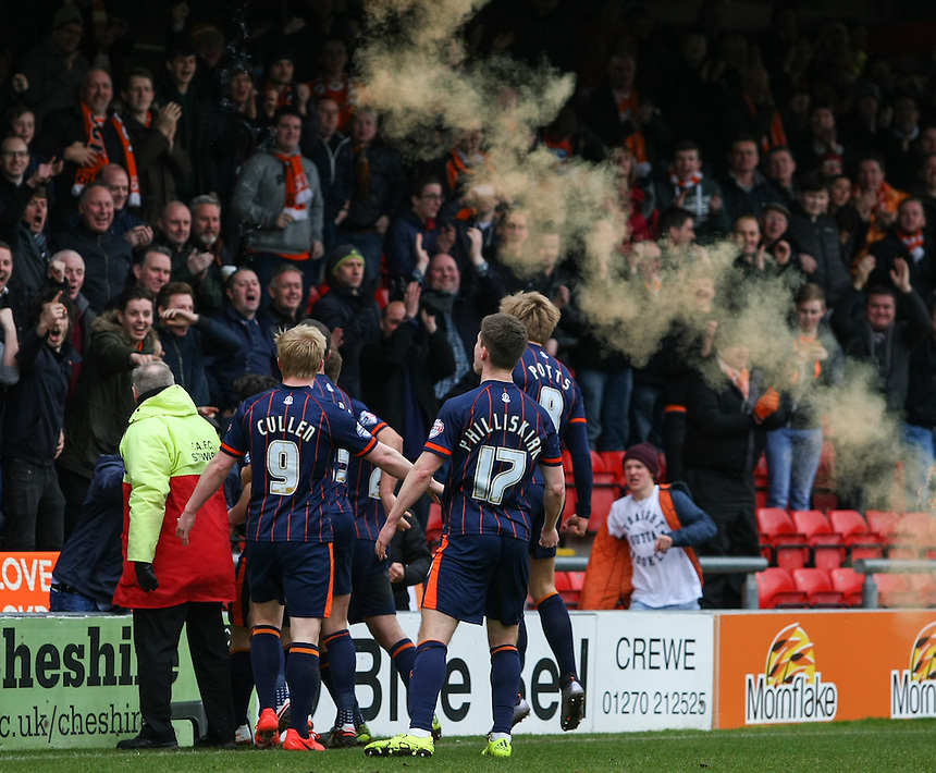 Blackpool players celebrate their side's opening goal<br /> <br /> Photographer Alex Dodd/CameraSport<br /> <br /> Football - The Football League Sky Bet League One - Crewe Alexandra v Blackpool - Saturday 19th March 2016 - Alexandra Stadium - Crewe    <br /> <br /> &copy; CameraSport - 43 Linden Ave. Countesthorpe. Leicester. England. LE8 5PG - Tel: +44 (0) 116 277 4147 - admin@camerasport.com - www.camerasport.com