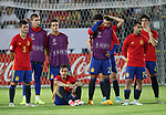 Spain's players look on dejected during the UEFA Under 21 Final at the Stadion Cracovia in Krakow. Picture date 30th June 2017. Picture credit should read: David Klein/Sportimage