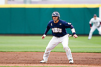 Brett Burch (20) of the Oral Roberts Golden Eagles takes a lead off of first base during a game against the Missouri State Bears on March 27, 2011 at Hammons Field in Springfield, Missouri.  Photo By David Welker/Four Seam Images