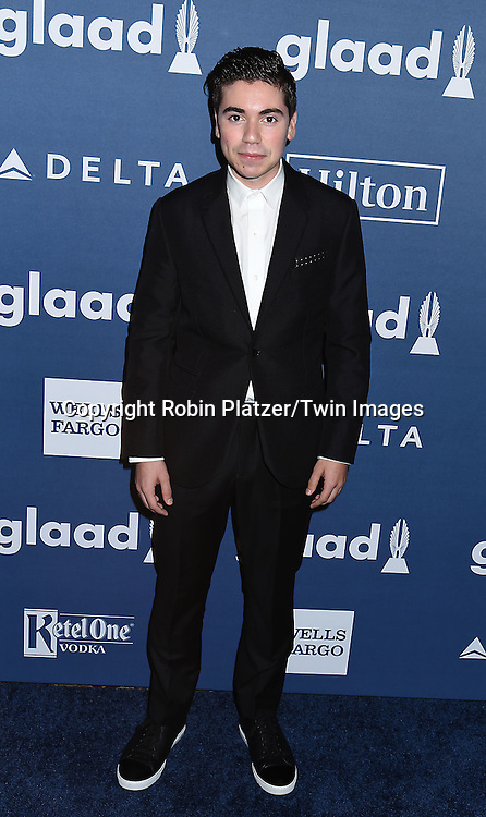 Noah Galvin attends the 27th Annual GLAAD Media Awards on May 14, 2016 at the Waldorf Astoria Hotel in New York City, New York, USA.<br /> <br /> photo by Robin Platzer/Twin Images<br />  <br /> phone number 212-935-0770