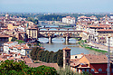 The view from Michelangelo point offers an incredible view of the Arno river and the Ponte Vecchio bridge (center) in Florence.  The Ponte Vecchio bridge is the oldest bridge in Florence.