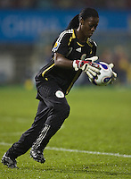 Nigeria goalkeeper (1) Precious Dede. Sweden (SWE) tied Nigeria (NGA) 1-1 during a FIFA Women's World Cup China 2007 opening round Group B match at Chengdu Sports Center Stadium, Chengdu, China, on September 11, 2007.
