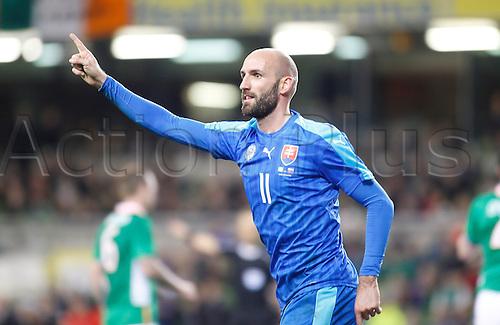 29.03.2016. Aviva Stadium, Dublin, Ireland.  International Football Friendly Ireland versus Slovakia. Robert Vittek celebrates scoring Slovakia's second goal.