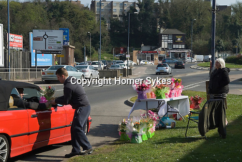 Ebbsfleet Ebbsfleet Valley Kent Uk. Mothers Day Flowers for sale at the side of the road