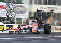 May 15, 2015; Commerce, GA, USA; NHRA top fuel driver Leah Pritchett during qualifying for the Southern Nationals at Atlanta Dragway. Mandatory Credit: Mark J. Rebilas-USA TODAY Sports