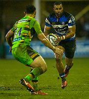 Bath Rugby's Aled Brew in action during todays match<br /> <br /> Photographer Bob Bradford/CameraSport<br /> <br /> Anglo-Welsh Cup Semi Final - Bath Rugby v  Northampton Saints - Friday 9th March 2018 - The Recreation Ground - Bath<br /> <br /> World Copyright &copy; 2018 CameraSport. All rights reserved. 43 Linden Ave. Countesthorpe. Leicester. England. LE8 5PG - Tel: +44 (0) 116 277 4147 - admin@camerasport.com - www.camerasport.com