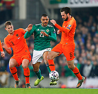 16th November 2019; Windsor Park, Belfast, Antrim County, Northern Ireland; European Championships 2020 Qualifier, Northern Ireland versus Netherlands; Conor McLaughlin of Northern Ireland and Davy Pröpper of Netherlands challenge for the ball - Editorial Use
