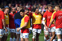 Bath Rugby players look on during the pre-match warm-up. Gallagher Premiership match, between Gloucester Rugby and Bath Rugby on April 13, 2019 at Kingsholm Stadium in Gloucester, England. Photo by: Patrick Khachfe / Onside Images