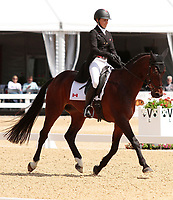 LEXINGTON, KY - April 26, 2017. #34 Pavarotti and Jessica Phoenix from Canada finish in 1st place on day 1 of Dressage at the Rolex Three Day Event at the Kentucky Horse Park.  Lexington, Kentucky. (Photo by Candice Chavez/Eclipse Sportswire/Getty Images)