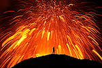 Dancing with the Devil<br /> Erupting volcano in Fimmv&ouml;r&eth;uh&aacute;ls/Eyjafjallaj&ouml;kull, south Iceland