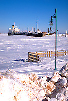 Frozen port with ship on Lake Superior.  Superior Wisconsin USA