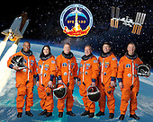 Attired in training versions of their shuttle launch and entry suits, these six astronauts take a break from training to pose for the STS-133 crew portrait. Pictured are National Aeronautics and Space Administration (NASA) astronauts Steve Lindsey (center right) and Eric Boe (center left), commander and pilot, respectively; along with astronauts (from the left) Alvin Drew, Nicole Stott, Michael Barratt and Tim Kopra, all mission specialists. STS-133, aboard the Space Shuttle Discovery, is scheduled for launch Monday, November 1, 2010 at 4:40 p.m. EDT..Credit: NASA via CNP