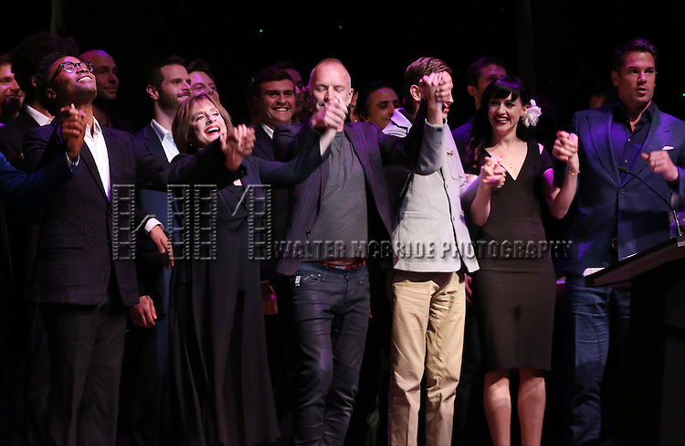 Billy Porter, Patti LuPone, Sting, Vlad, Lena Hall, Thomas Roberts and cast performing at 'Uprising Of Love: A Benefit Concert For Global Equality' at the Gershwin Theatre on September 15, 2014 in New York City.