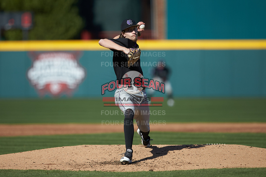 Holy Cross Crusaders starting pitcher Luke Dawson (5) in action against the South Carolina Gamecocks at Founders Park on February 15, 2020 in Columbia, South Carolina. The Gamecocks defeated the Crusaders 9-4.  (Brian Westerholt/Four Seam Images)