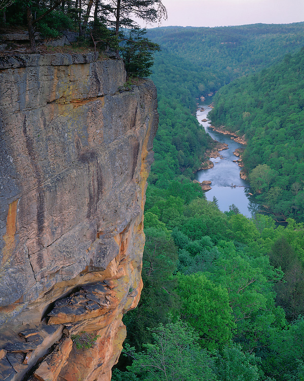 Afternoon light on cliff and the Big South Fork River viewed from Grand Gap Loop; Big South Fork National River and Recreation Area, TN