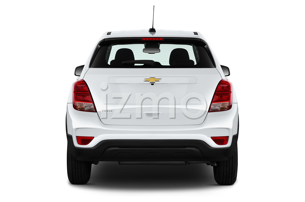 Straight rear view of 2018 Chevrolet Trax LS 5 Door SUV Rear View  stock images