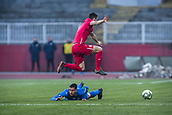 27th March 2018, Karadjorde Stadium, Novi Sad, Serbia; Under 21 International Football Friendly, Serbia U21 versus Italy U21; Rolando Mandragora of Italy misses the tackle as the Serbia player skips the challenge
