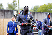 10th September 2017, Turf Moor, Burnley, England; EPL Premier League football, Burnley versus Crystal Palace; Mamadou Sakho of Crystal Palace arrives at the ground and looks at his mobile phone