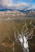 Aerial of the East Fork of the Chandalar river, Brooks range mountains, Arctic National Wildlife Refuge, Alaska.