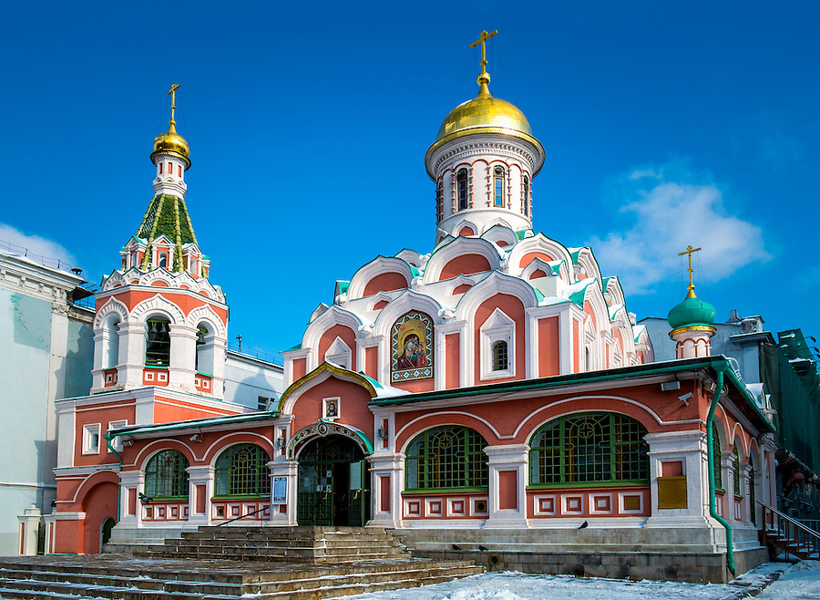 Exterior view of the Kazan Cathedral located in the Red Square in Moscow, Russia.